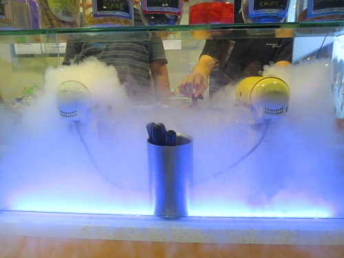 "The cloud of ""smoke"" is really a cloud of liquid nitrogen."